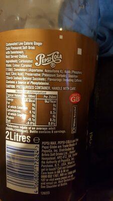 Pepsi Max Ginger 2l - Ingrédients - en