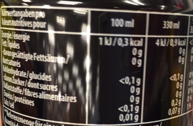 Pepsi Max - Valori nutrizionali - fr