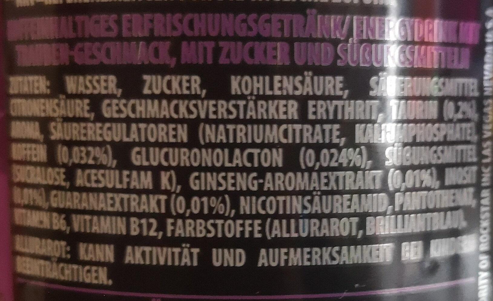Rockstar xdurance energy grape - Zutaten - de