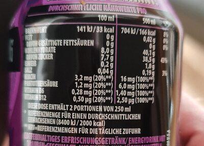 Rockstar xdurance energy grape - Informations nutritionnelles - de