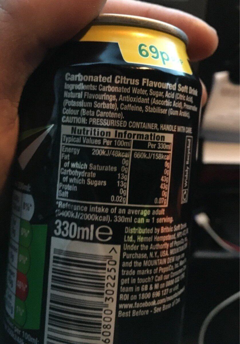 Mountain Dew Citrus Blast - Nutrition facts - en