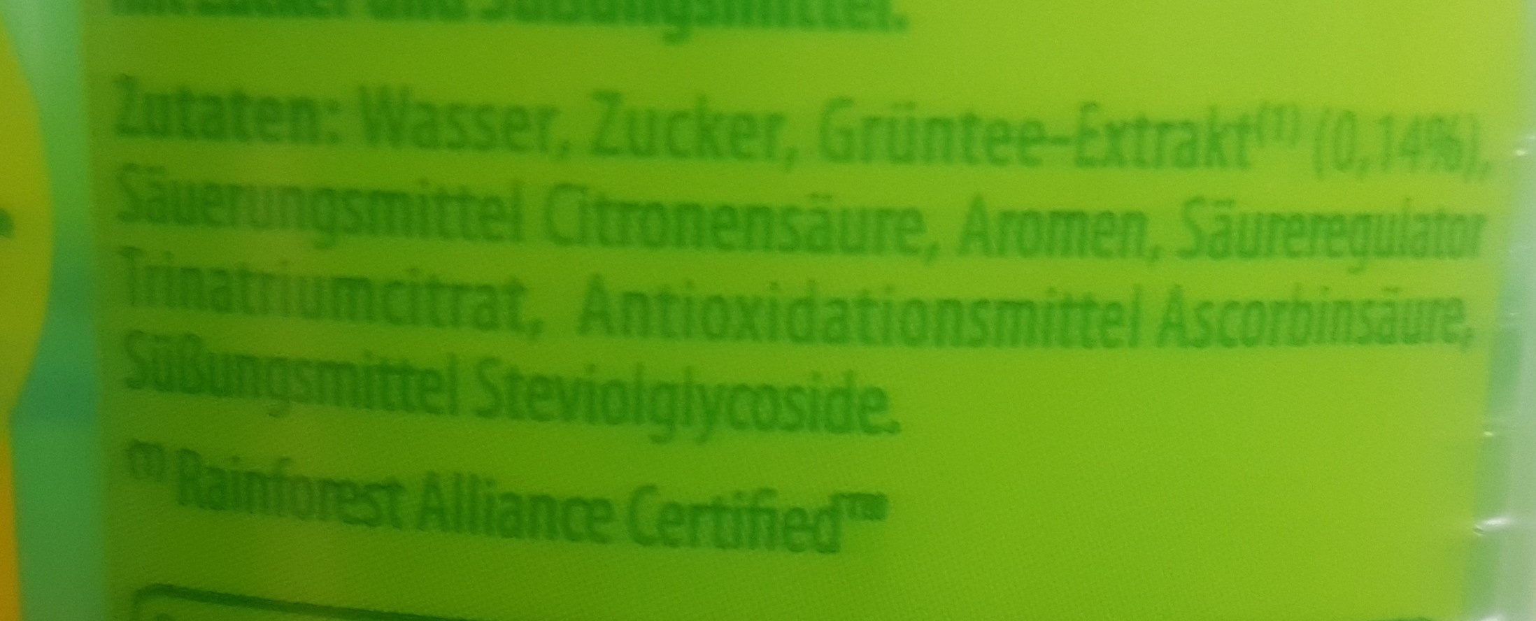 Lipton Green Ice Tea Lime - Ingredients - en