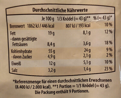 Serviettenknödel - Nutrition facts - de