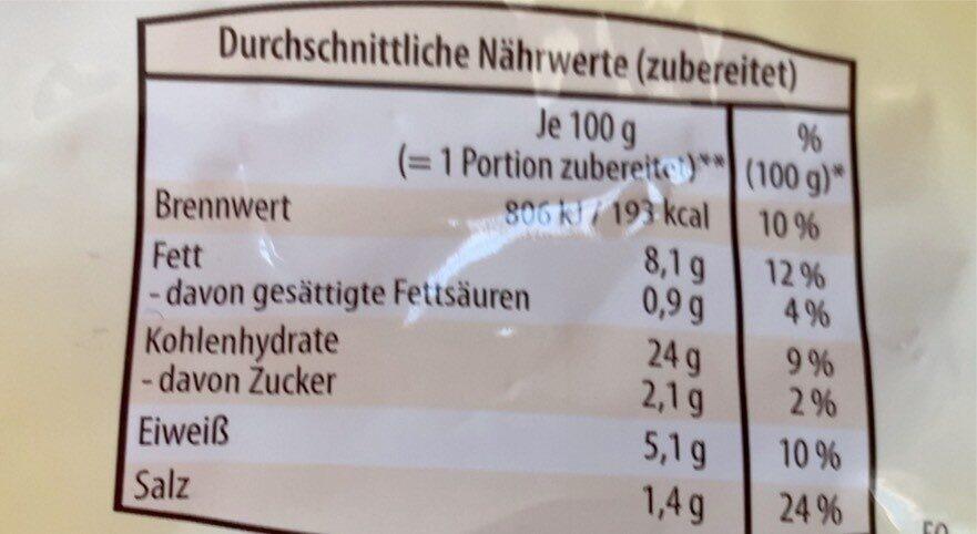Serviettenknödel - Informations nutritionnelles - de