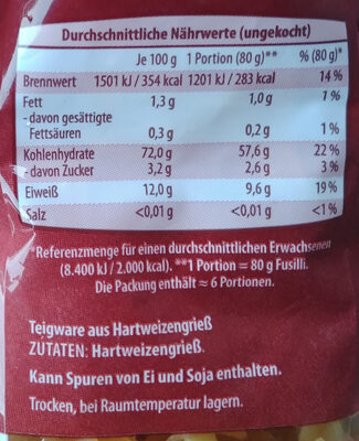 Nudeln Fusilli - Informations nutritionnelles