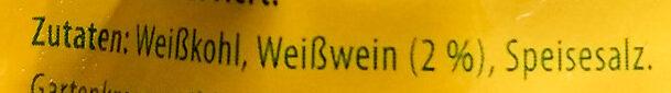 Wein-Sauerkraut - Inhaltsstoffe - de