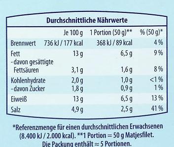 Edle Matjesfilets nordische Art - Nutrition facts - de