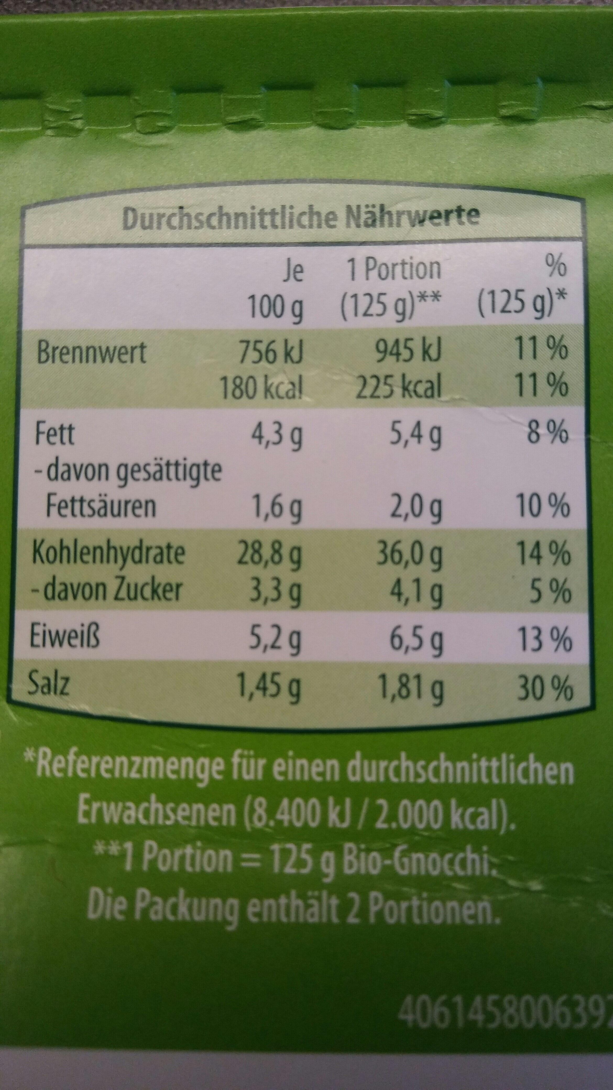Bio-Gnocchi - Informations nutritionnelles - de
