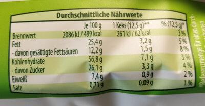 Hafercookies mit Zartbitterschokolade - Nutrition facts - de
