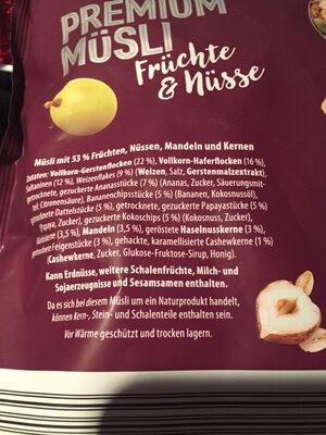 Premium Müsli - Ingredients
