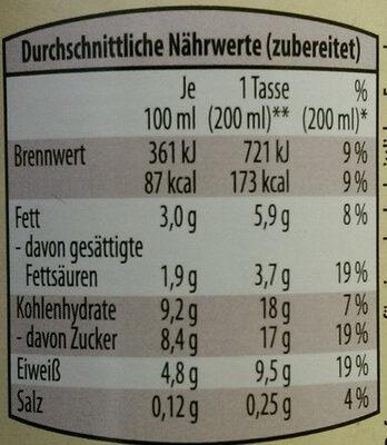 Bio-Trinkschokolade - Nährwertangaben - de