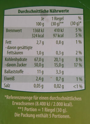 Obst Riegel - Voedingswaarden - de