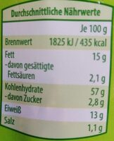 Bio-Knäckebrot Snack - Informations nutritionnelles - en