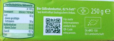 Bio-Süßrahmbutte 82% - Informations nutritionnelles - de