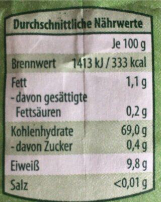 Weizenmehl Typ 550 - Valori nutrizionali - en