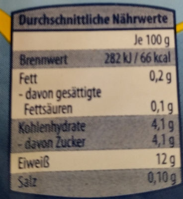 Speisequark Magerstufe - Nutrition facts