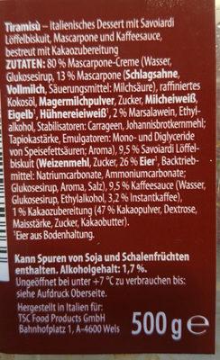 Tiramisu - Inhaltsstoffe - de