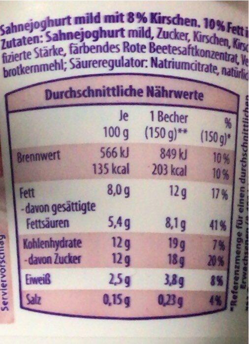 Sahne Joghurt Mild Kirsche - Valori nutrizionali - de