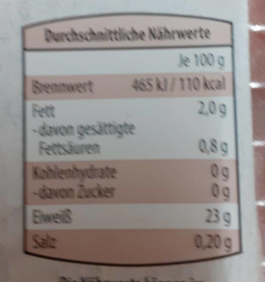 Frisches Puten-minifilet - Informations nutritionnelles - de