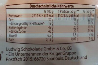 Kuvertüre zartbitter - Nutrition facts - de