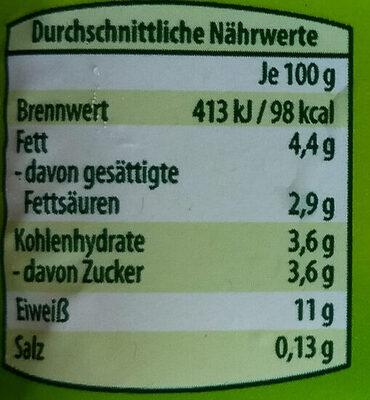 Speisequark 20% Fett i. Tr. - Informations nutritionnelles - de