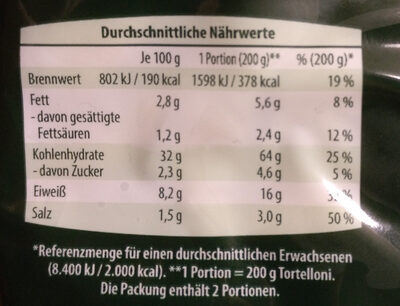 Tortelloni spinat-ricota - Informations nutritionnelles
