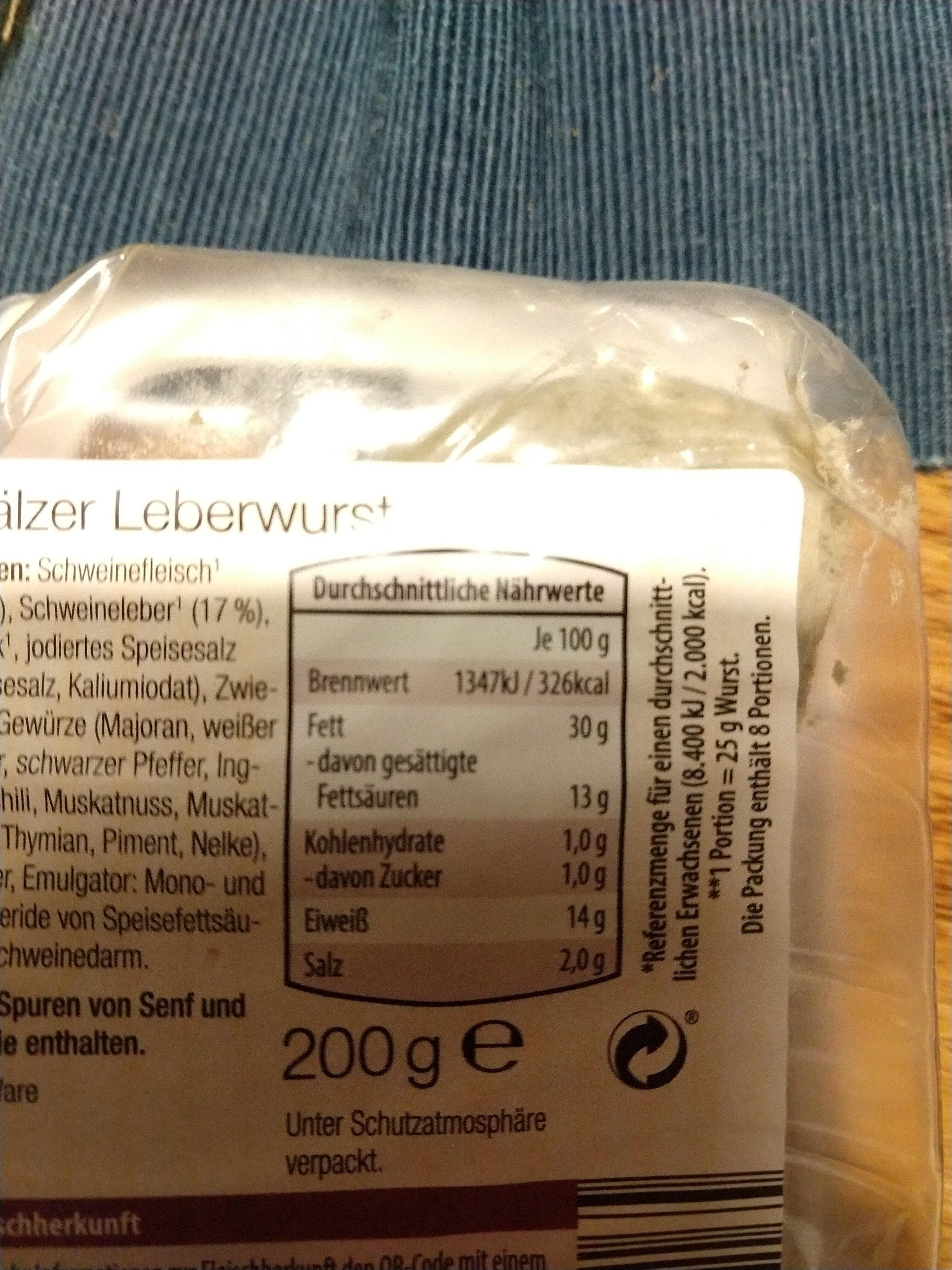 Pfälzer Leberwurst - Nutrition facts - de