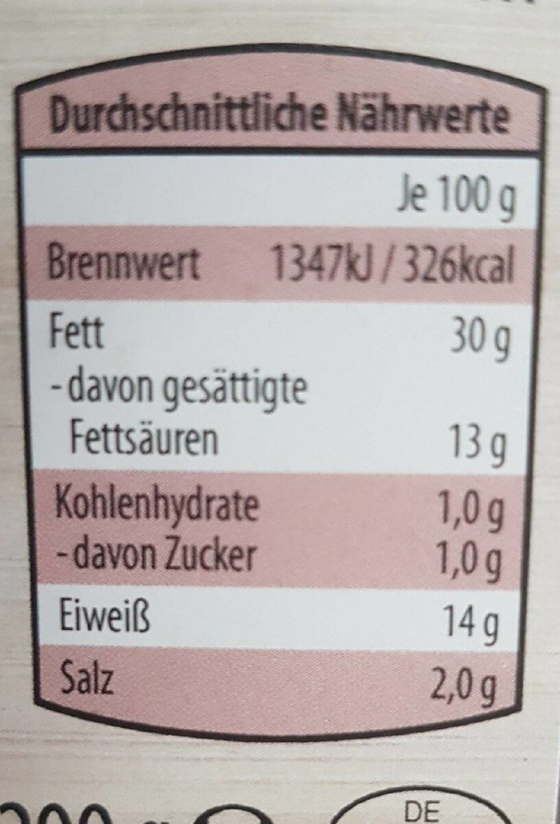 Pfälzer Leberwurst - Nährwertangaben - de