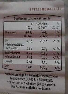 Kasseler mit Pfeffer - Nährwertangaben - de
