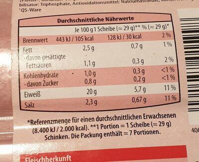 Schinken / Jambon de porc - Voedingswaarden - fr