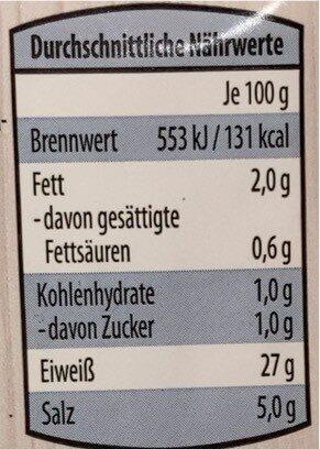 Gourmet rohschinken - Valori nutrizionali - de