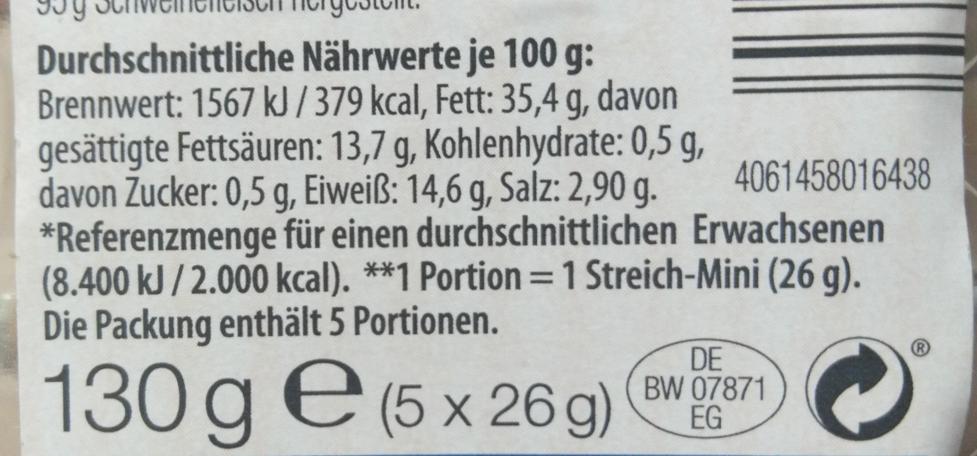 Streich-Minis Schinken-Teewurst fein - Nutrition facts