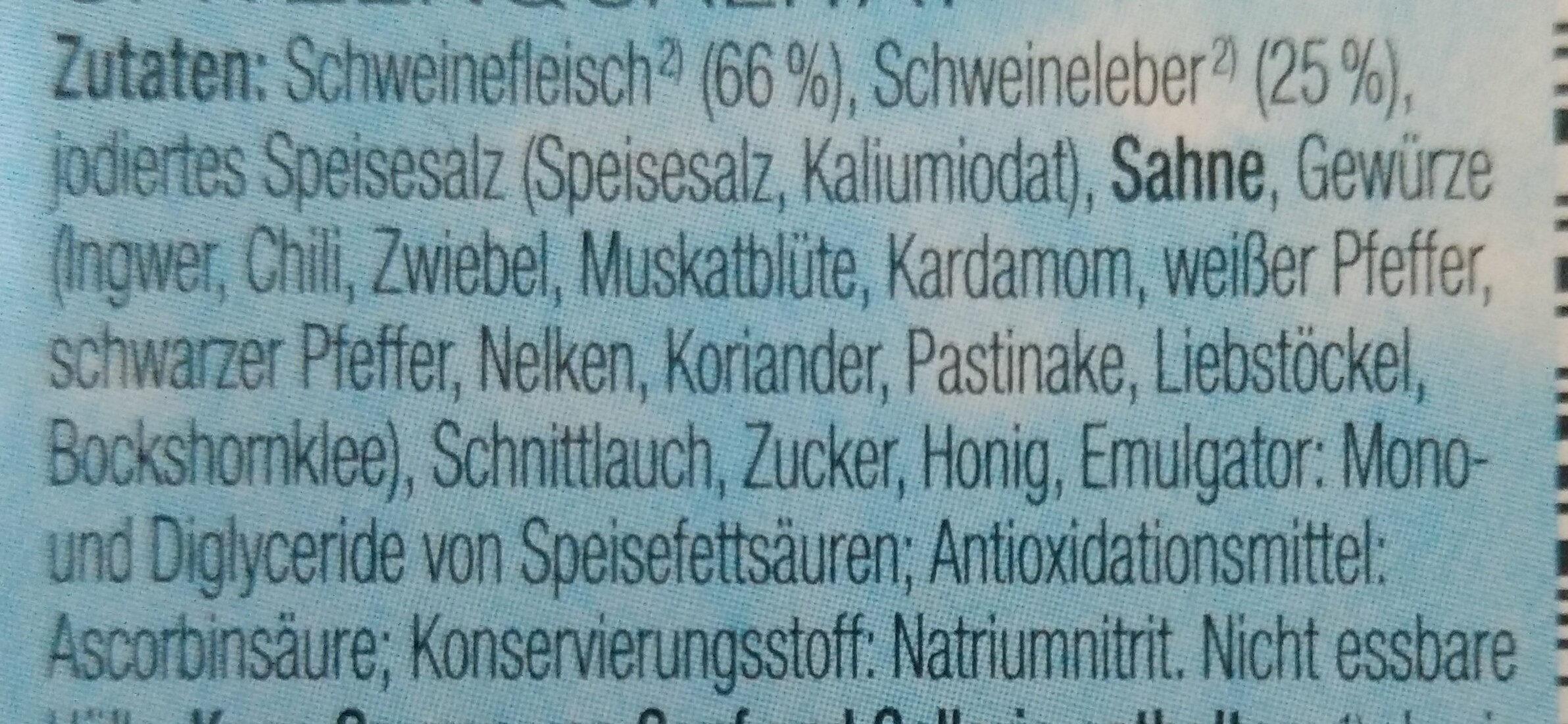 Streich-Minis Feinste Leberwurst mit Schnittlauch - Ingrédients