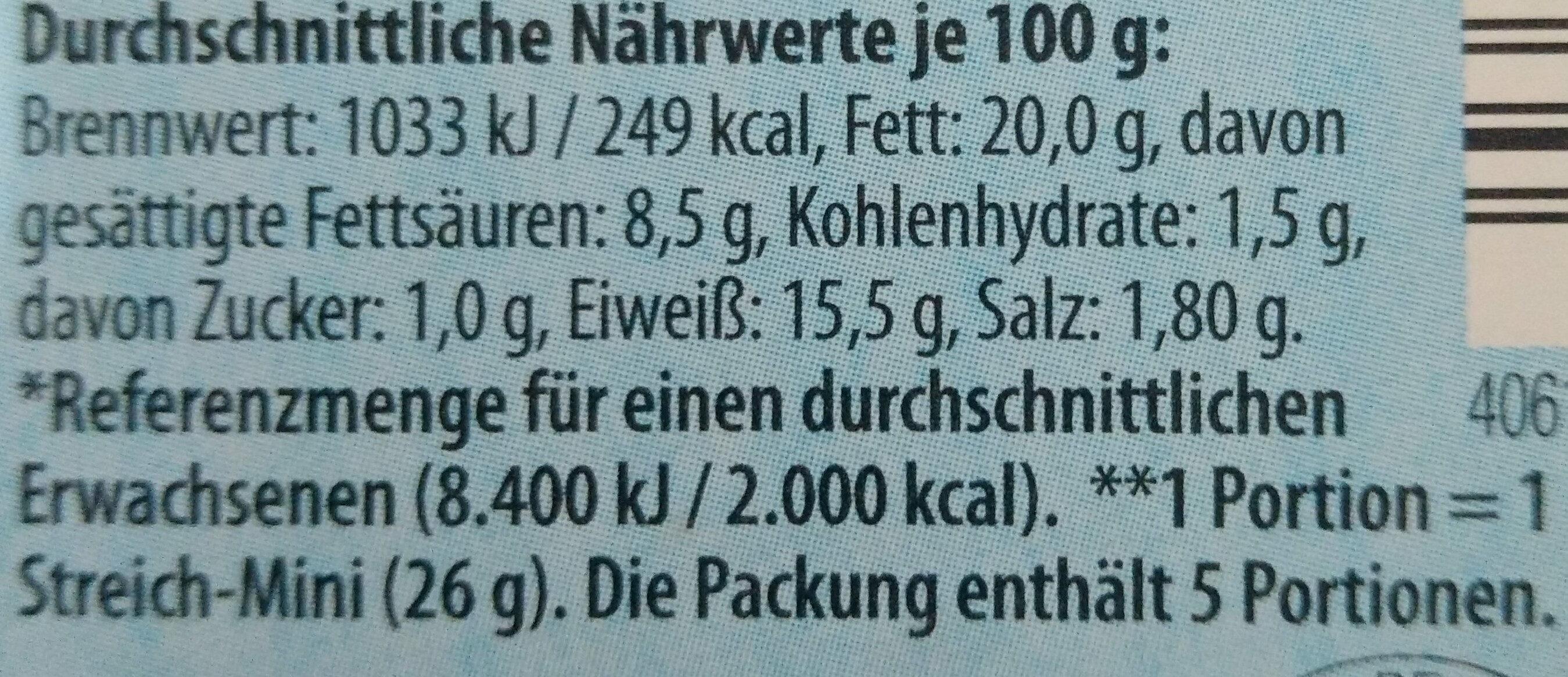 Streich-Minis Feinste Leberwurst mit Schnittlauch - Informations nutritionnelles