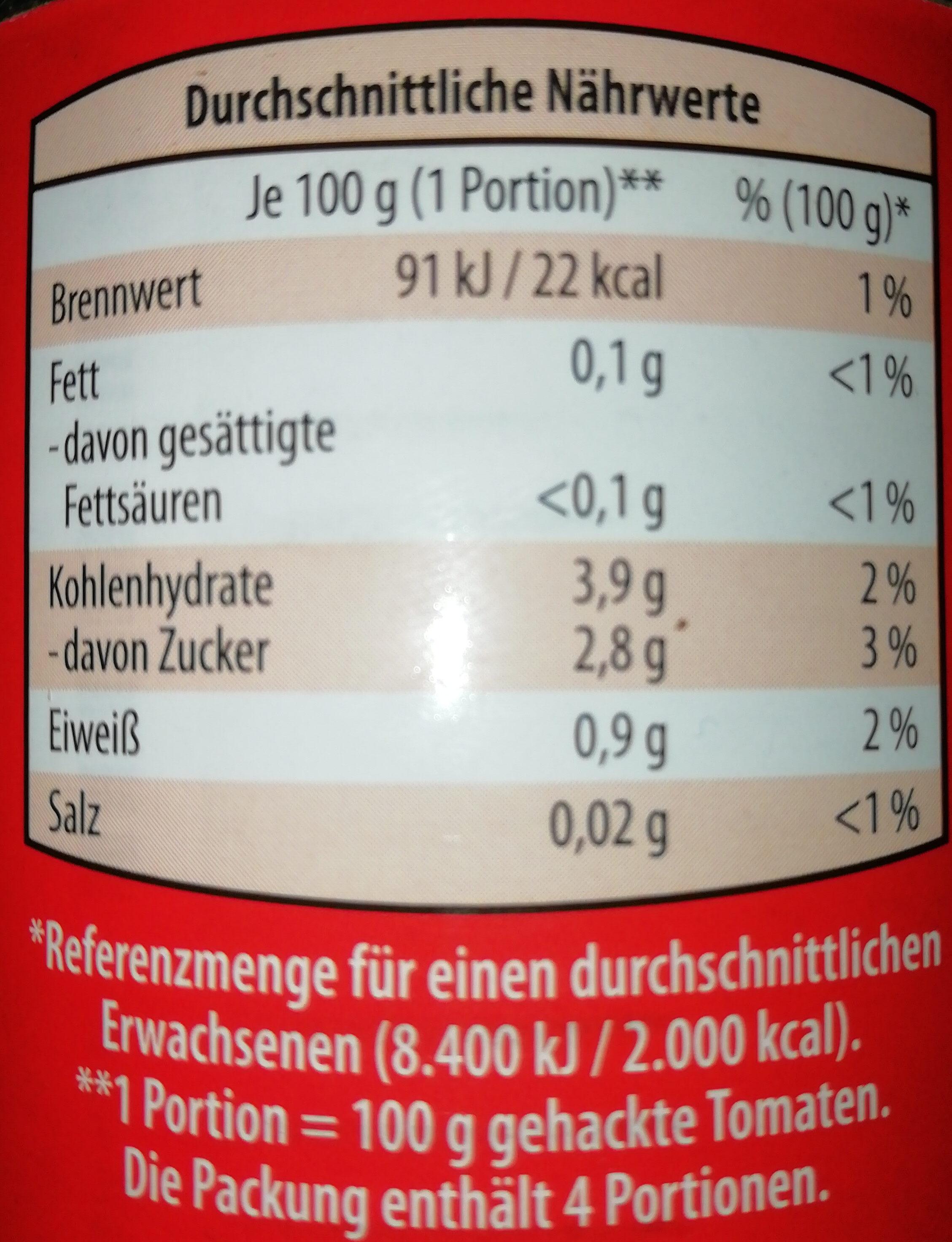 Tomaten - gehackt - Nutrition facts - de