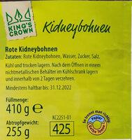 Kidneybohnen - Ingrédients - de