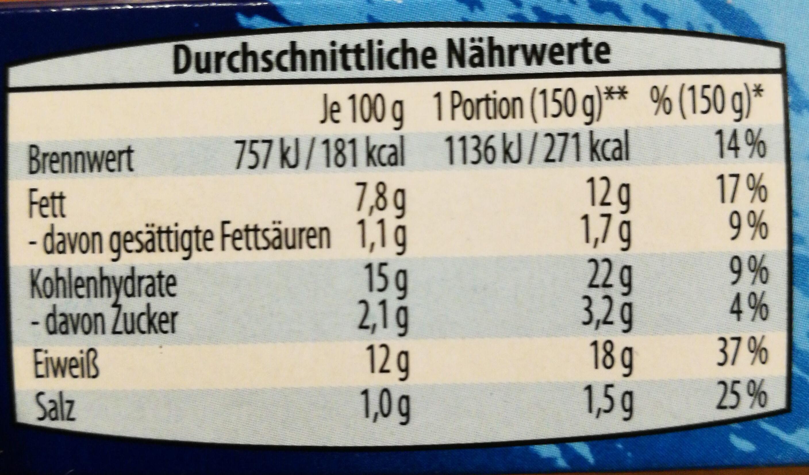 Fischstäbchen - Nutrition facts - de