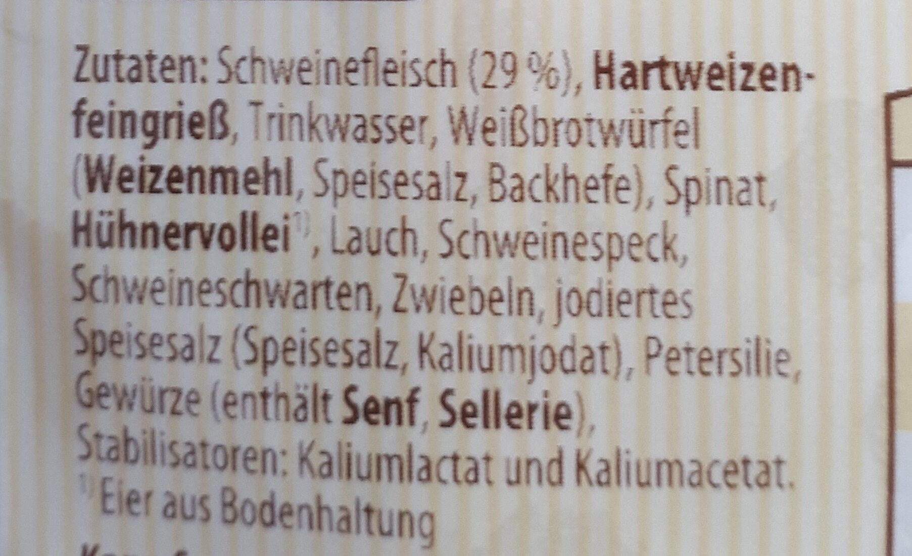 Schwäbische Maultaschen - Ingrédients - de