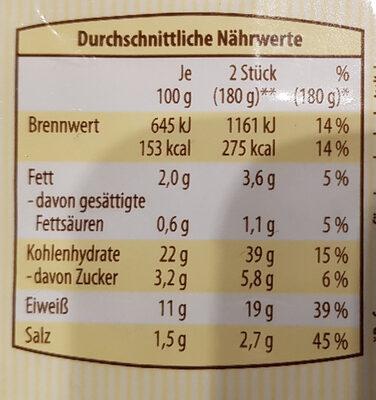 Gemüse Maultaschen - Nährwertangaben