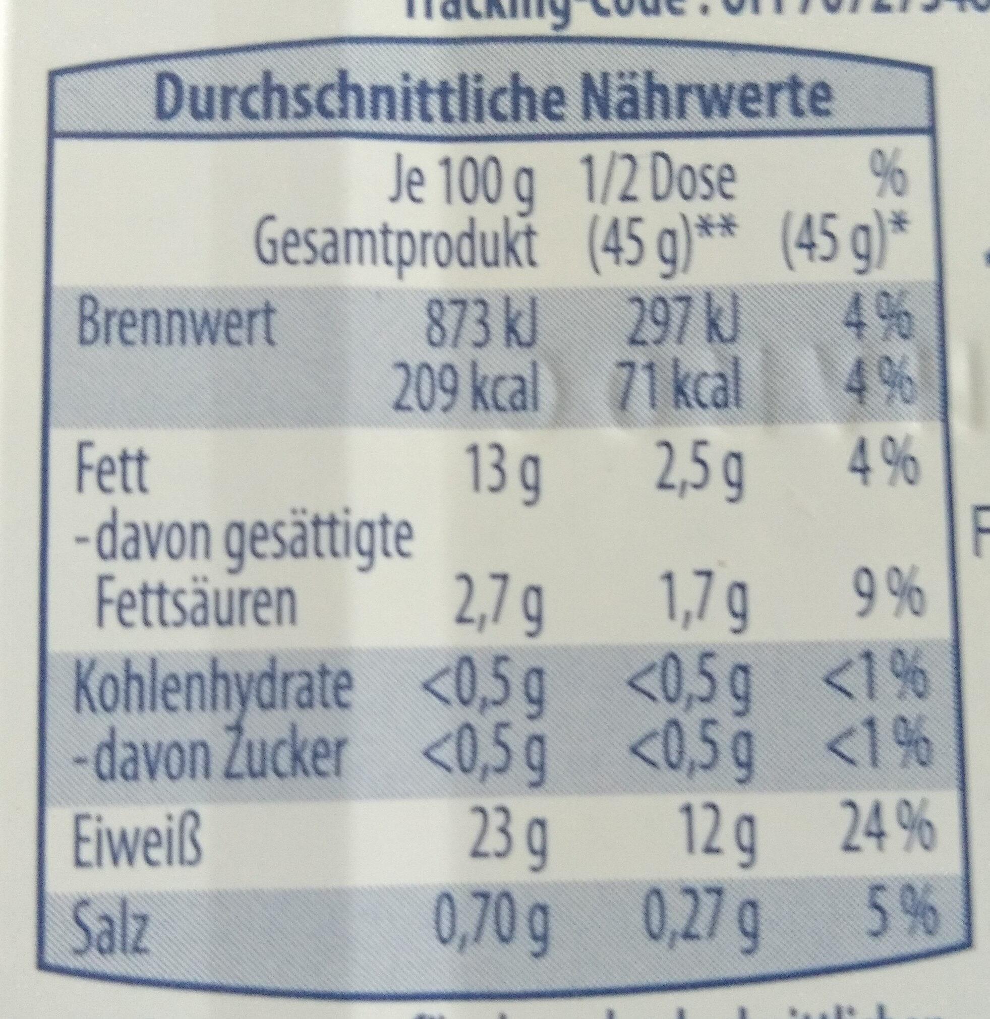 Sardine - Informations nutritionnelles - de