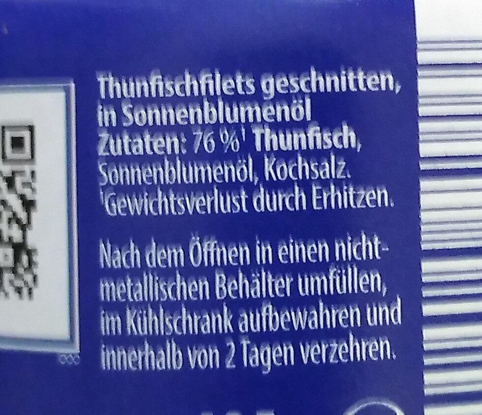Thunfisch Filets in Sonnenblumenöl - Zutaten - de