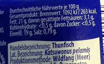 Thunfisch Filets in Sonnenblumenöl - Nährwertangaben - de