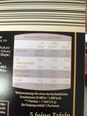 Edel Bitter 85% Cacao - 营养成分 - de