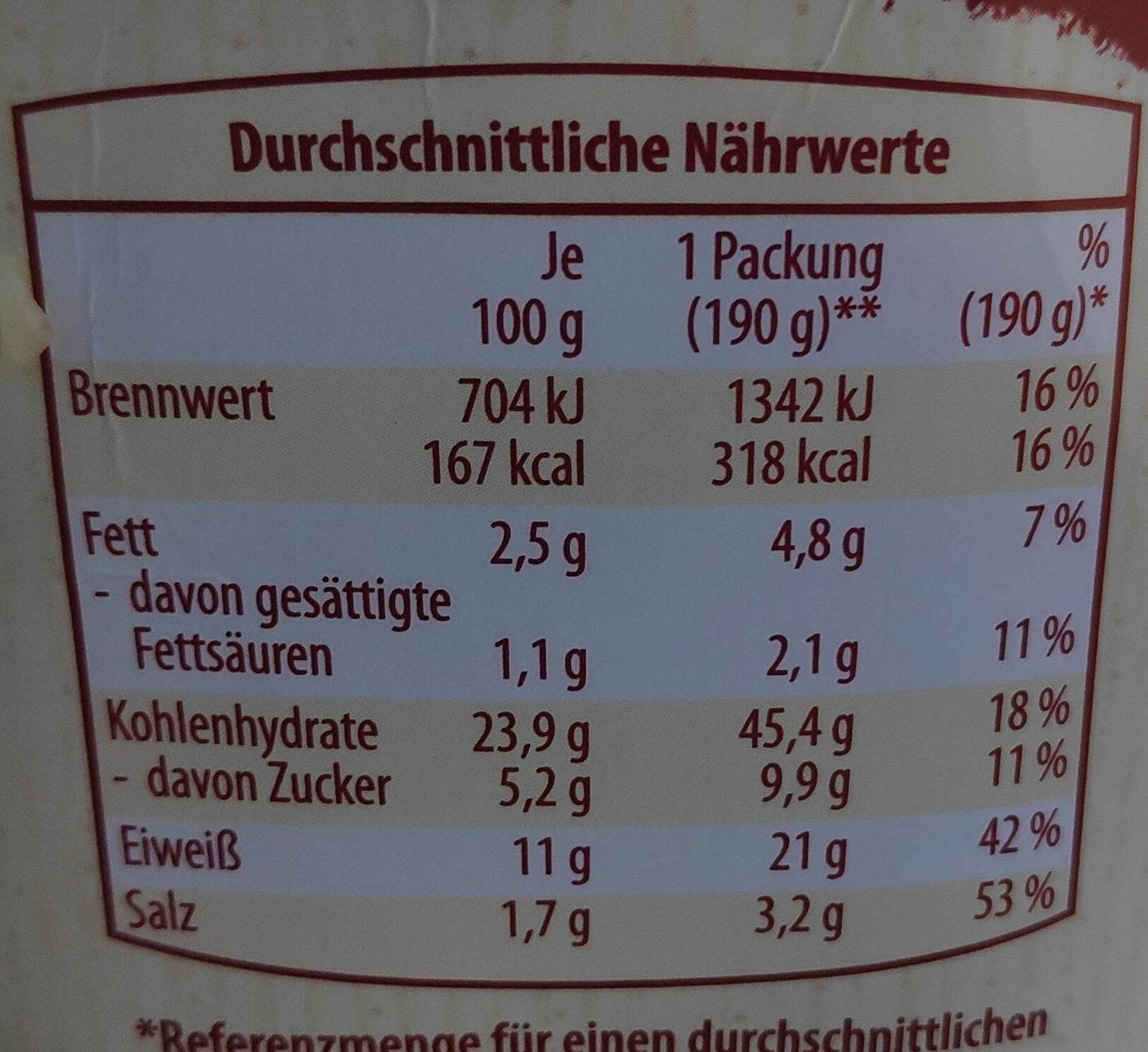 Wrap Hähnchen Sweet Chili - Informations nutritionnelles