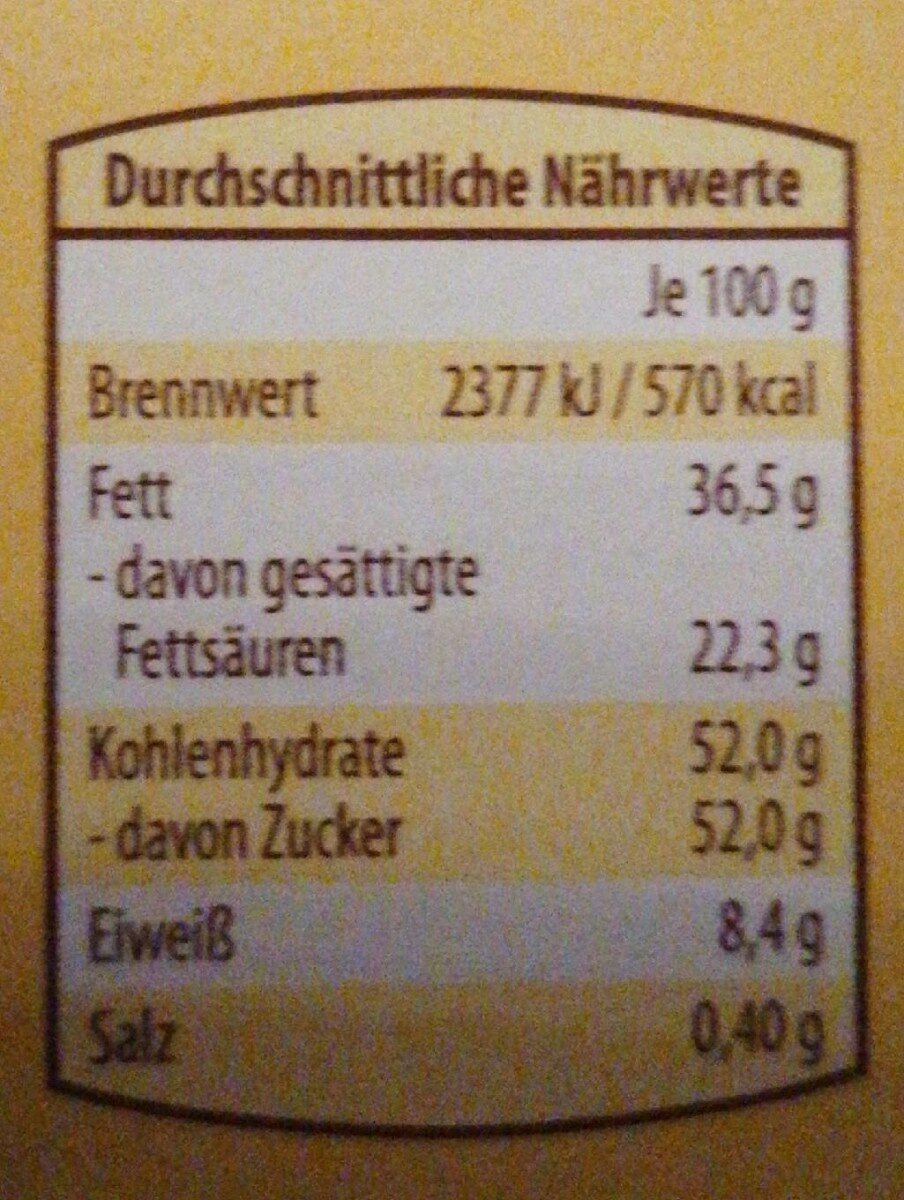 Choceur Feine Weisse - Informations nutritionnelles - de