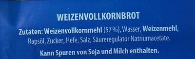 Vollkorn-sandwichtoast - Inhaltsstoffe - de