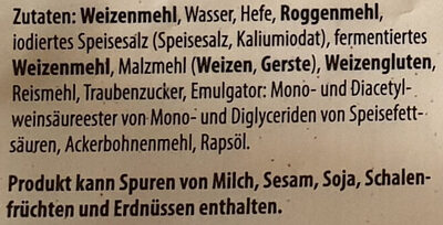 Kaiser Brötchen Weizen - Ingrediënten - de