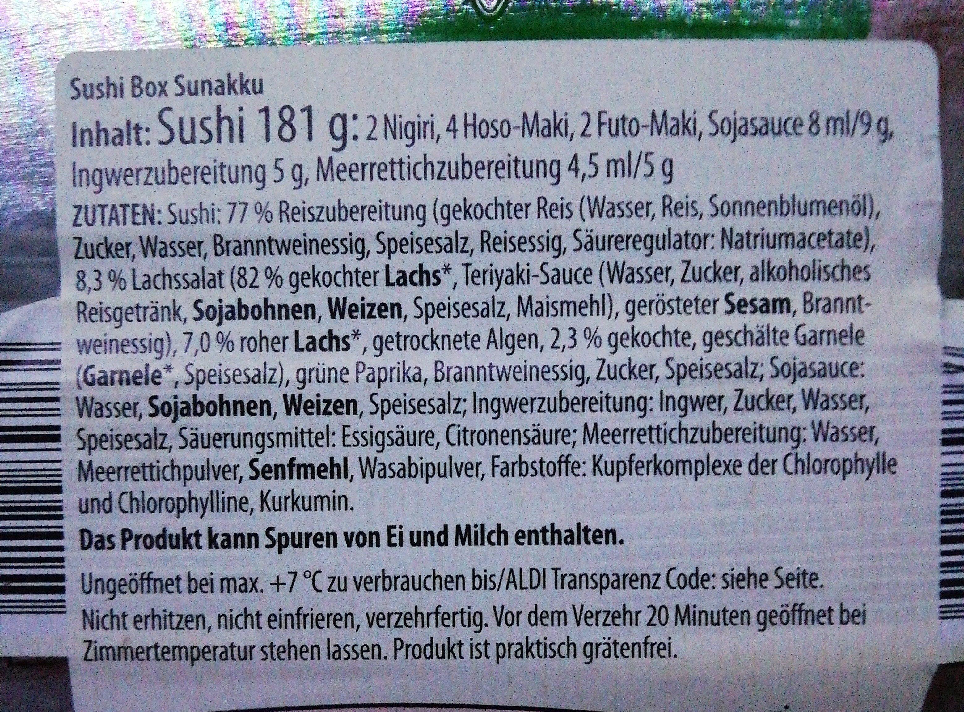 SUSHI BOX SUNAKKU - Ingrédients - en