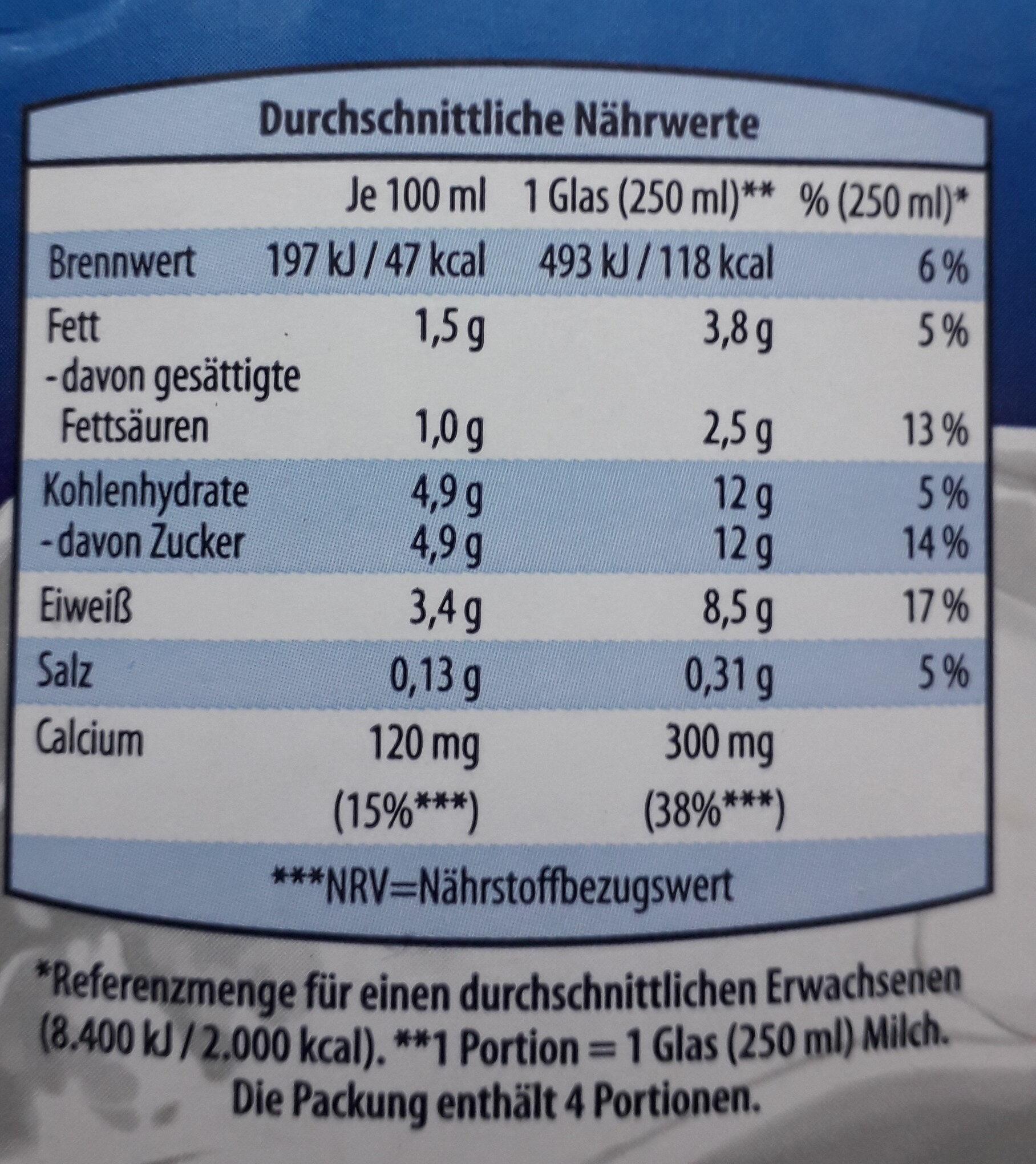 Fettarme H-Milch - Nährwertangaben - de