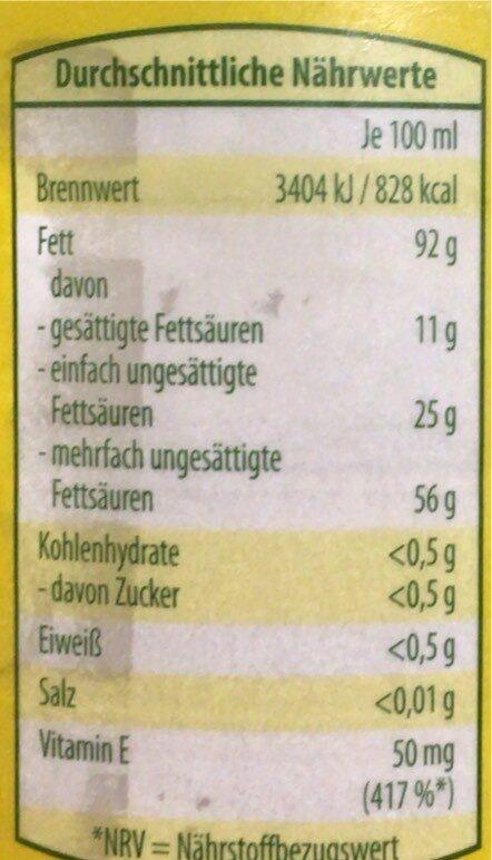 Reines Sonnenblumenöl - Valori nutrizionali - en
